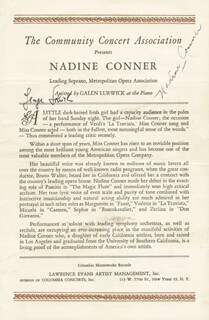 NADINE CONNER - PROGRAM SIGNED CO-SIGNED BY: GEORGE SCHICK