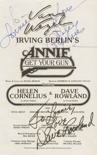 ANNIE GET YOUR GUN PLAY CAST - INSCRIBED PROGRAM COVER SIGNED CO-SIGNED BY: DAVE ROWLAND, HELEN CORNELIUS