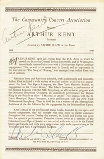 Autographs: MAJOR ARTHUR KENT - PROGRAM COVER SIGNED CO-SIGNED BY: ARCHIE BLACK