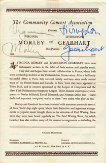 Autographs: VIRGINIA (VIRGINIA MORLEY) WARING - PROGRAM SIGNED CO-SIGNED BY: LIVINGSTON GEARHART