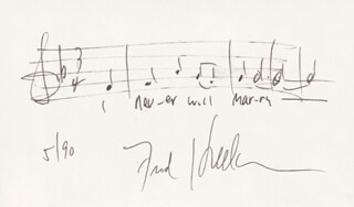 FRED HELLERMAN - AUTOGRAPH MUSICAL QUOTATION SIGNED 5/1990