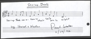 PAUL WESTON - AUTOGRAPH MUSICAL QUOTATION SIGNED 11/17/1992