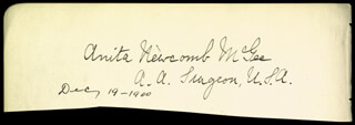 Autographs: ANITA NEWCOMB MCGEE - SIGNATURE(S) 12/19/1900 CO-SIGNED BY: WILLIAM ALEXANDER HARRIS