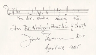 JACK BEESON - AUTOGRAPH MUSICAL QUOTATION SIGNED 04/29/1985