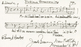 JACK BEESON - AUTOGRAPH MUSICAL QUOTATION SIGNED 11/06/1984