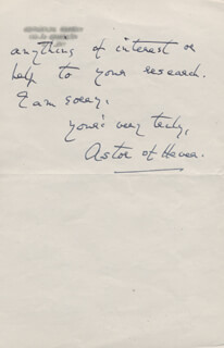 ASTOR OF HEVER - AUTOGRAPH LETTER SIGNED 07/30/1962