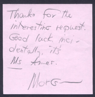 MORGAN AMES - AUTOGRAPH NOTE SIGNED 11/06/1984