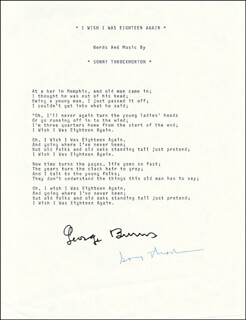 GEORGE BURNS - TYPED LYRIC(S) SIGNED 11/1985 CO-SIGNED BY: SONNY THROCKMORTON