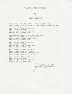 Autographs: JESTER HAIRSTON - TYPED LYRIC(S) SIGNED