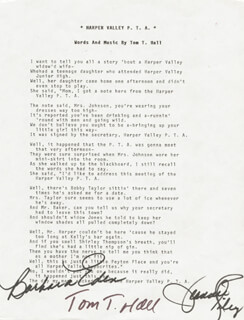 BARBARA EDEN - TYPED LYRIC(S) SIGNED CO-SIGNED BY: JEANNIE C. RILEY, TOM T. HALL