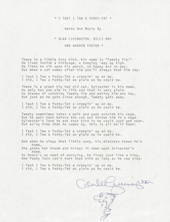 ALAN LIVINGSTON - TYPED LYRIC(S) SIGNED
