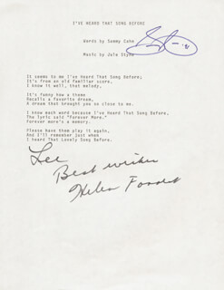 SAMMY CAHN - INSCRIBED TYPED LYRIC (S) SIGNED 1991 CO-SIGNED BY: HELEN FORREST