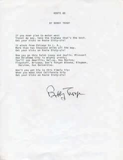 BOBBY (ROBERT) TROUP - TYPED LYRIC(S) SIGNED