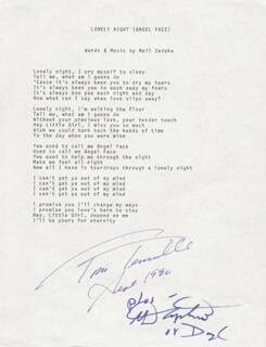 CAPTAIN & TENNILLE - TYPED LYRIC(S) SIGNED 09/1990 CO-SIGNED BY: CAPTAIN & TENNILLE (DARYL DRAGON), CAPTAIN & TENNILLE (TONI TENNILLE)