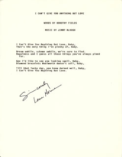LENA HORNE - TYPED LYRIC(S) SIGNED