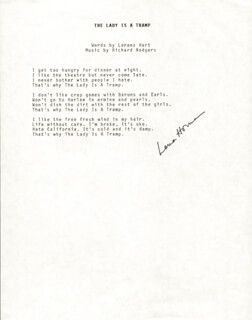 Autographs: LENA HORNE - TYPED LYRIC(S) SIGNED