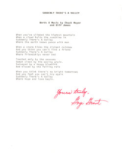 GOGI GRANT - TYPED LYRIC(S) SIGNED