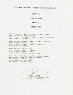 PETE FOUNTAIN - TYPED LYRIC(S) SIGNED