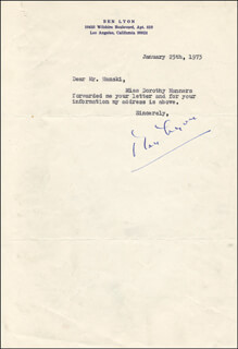 Autographs: BEN LYON - TYPED NOTE SIGNED 01/25/1973