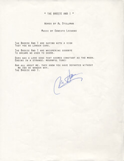VIC DAMONE - TYPED LYRIC(S) SIGNED