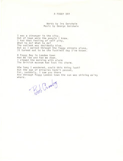 BOB (GEORGE ROBERT) CROSBY - TYPED LYRIC(S) SIGNED