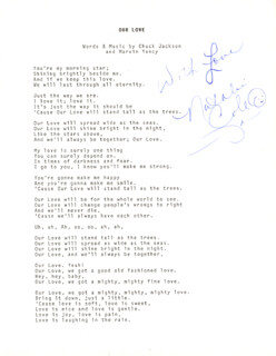 NATALIE COLE - TYPED LYRIC(S) SIGNED