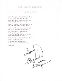 BRENDA LEE - TYPED LYRIC(S) SIGNED  - HFSID 201093