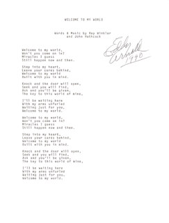 EDDY ARNOLD - TYPED LYRIC(S) SIGNED 1990