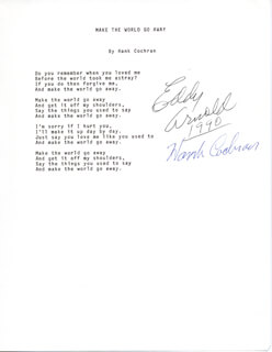 EDDY ARNOLD - TYPED LYRIC(S) SIGNED 1990 CO-SIGNED BY: HANK COCHRAN