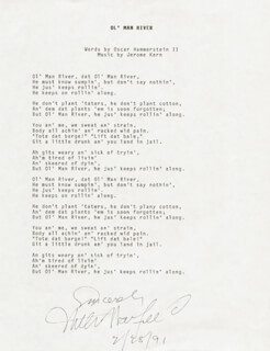 Autographs: WILLIAM WARFIELD - TYPED LYRIC(S) SIGNED 02/28/1991