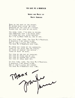 FRANKIE LAINE - TYPED LYRIC(S) SIGNED