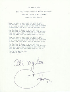 CHER - TYPED LYRIC(S) SIGNED 1991