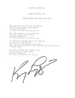 KENNY LOGGINS - TYPED LYRIC(S) SIGNED