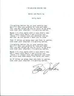 EDDIE FISHER - TYPED LYRIC(S) SIGNED