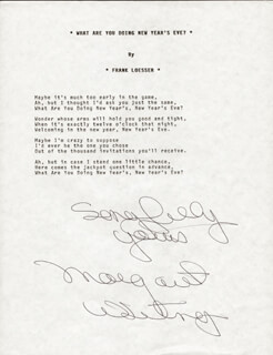 MARGARET WHITING - TYPED LYRIC(S) SIGNED