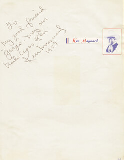 KEN MAYNARD - AUTOGRAPH NOTE SIGNED 1957 CO-SIGNED BY: TOMMY SANDS