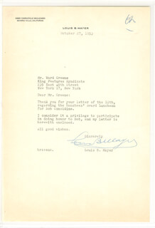 LOUIS B. MAYER - TYPED LETTER SIGNED 10/27/1953
