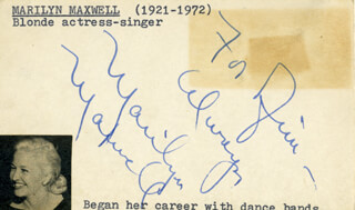 MARILYN MAXWELL - AUTOGRAPH NOTE SIGNED