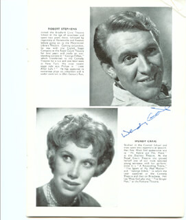 WRONG SIDE OF THE PARK PLAY CAST - PROGRAM SIGNED CO-SIGNED BY: JOYCE CAREY, WENDY CRAIG