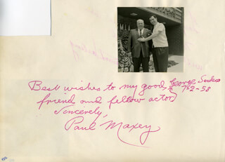 PAUL MAXEY - AUTOGRAPH NOTE SIGNED 07/02/1958 CO-SIGNED BY: DONN HARLING
