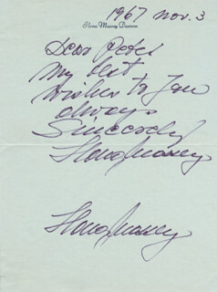 IIONA MASSEY - AUTOGRAPH NOTE SIGNED 11/03/1967