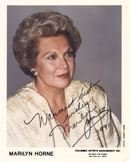 MARILYN HORNE - AUTOGRAPHED SIGNED PHOTOGRAPH 1991