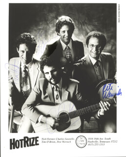HOT RIZE - AUTOGRAPHED SIGNED PHOTOGRAPH CO-SIGNED BY: HOT RIZE (NICK FOSTER), HOT RIZE (CHARLES SAWTELLE), HOT RIZE (TIM O'BRIEN), HOT RIZE (PETE WERNICK)