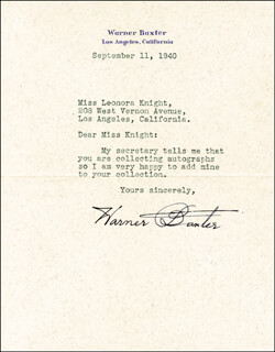 WARNER BAXTER - TYPED LETTER SIGNED 09/11/1940