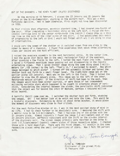 CLYDE WILLIAM TOMBAUGH - TYPED MANUSCRIPT SIGNED