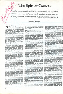 FRED LAWRENCE WHIPPLE - ARTICLE SIGNED
