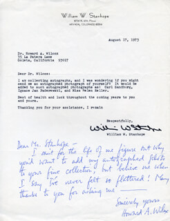 HOWARD A. WILCOX - AUTOGRAPH LETTER SIGNED