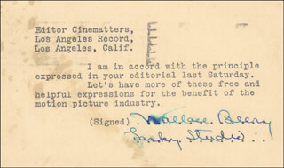 WALLACE BEERY - TYPED NOTE SIGNED 1925