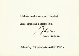 Autographs: PRESIDENT LECH WALESA (POLAND) - TYPED NOTE SIGNED 12/25/1984