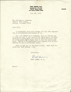 NEAL OWENS - TYPED LETTER SIGNED 06/26/1973